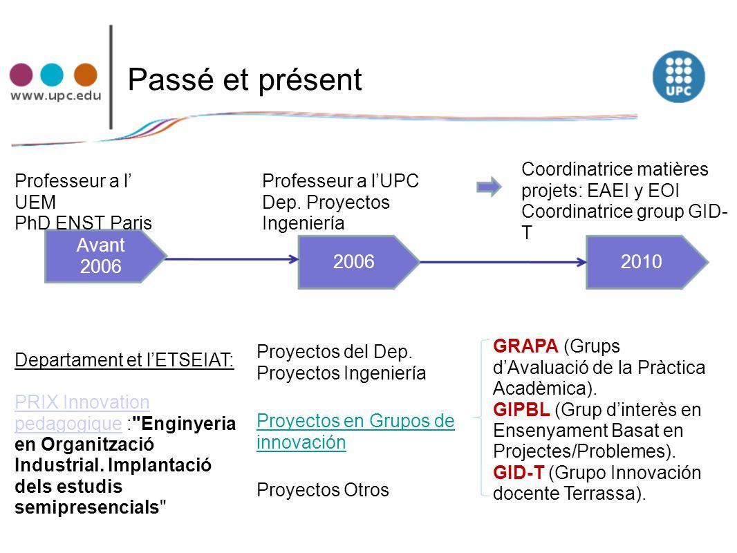 Passé et présent Departament et l'ETSEIAT: PRIX Innovation pedagogiquePRIX Innovation pedagogique :