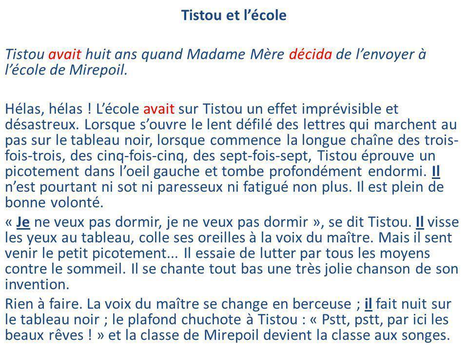 Tistou et l'école Tistou avait huit ans quand Madame Mère décida de l'envoyer à l'école de Mirepoil.