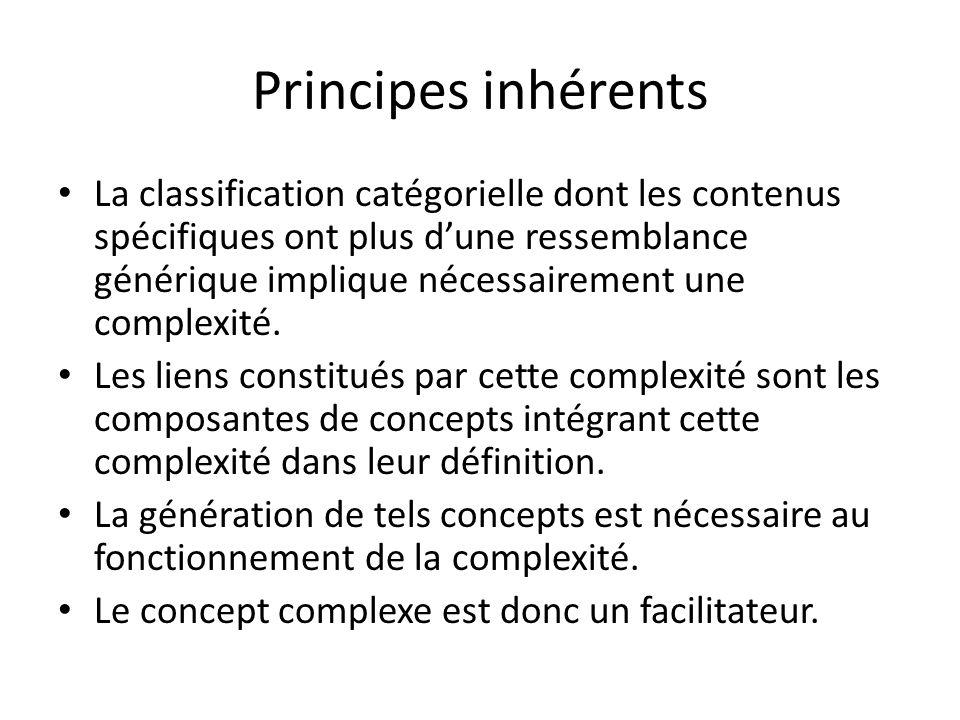 Principes inhérents La classification catégorielle dont les contenus spécifiques ont plus d'une ressemblance générique implique nécessairement une complexité.