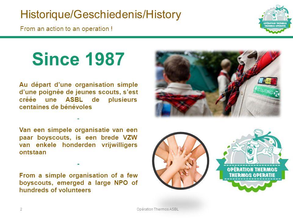Historique/Geschiedenis/History Opération Thermos ASBL2 From an action to an operation ! Since 1987 Au départ d'une organisation simple d'une poignée