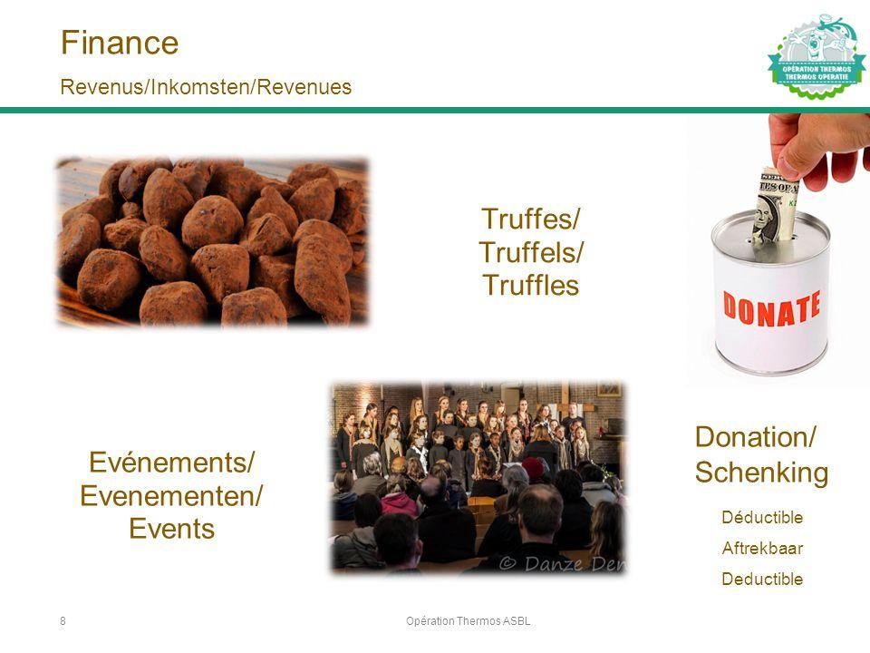 Finance Truffes/ Truffels/ Truffles Opération Thermos ASBL8 Revenus/Inkomsten/Revenues Evénements/ Evenementen/ Events Donation/ Schenking Déductible Aftrekbaar Deductible