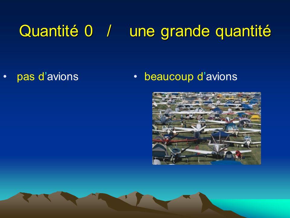 Quantité 0 / une grande quantité pas d'avions beaucoup d'avions