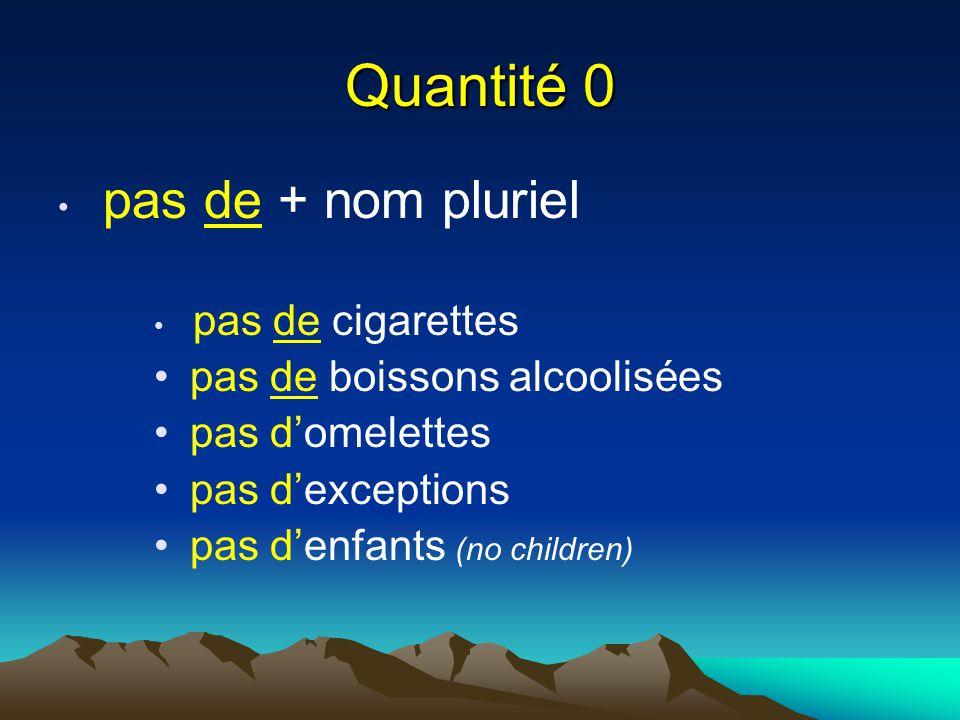 Quantité 0 pas de + nom pluriel pas de cigarettes pas de boissons alcoolisées pas d'omelettes pas d'exceptions pas d'enfants (no children)