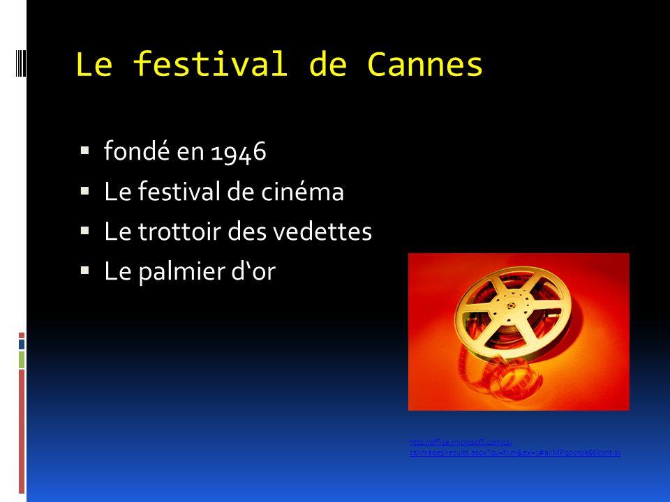 Le festival de Cannes  fondé en 1946  Le festival de cinéma  Le trottoir des vedettes  Le palmier d'or http://office.microsoft.com/cs- cz/images/r