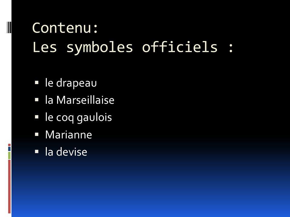 Contenu: Les symboles officiels :  le drapeau  la Marseillaise  le coq gaulois  Marianne  la devise