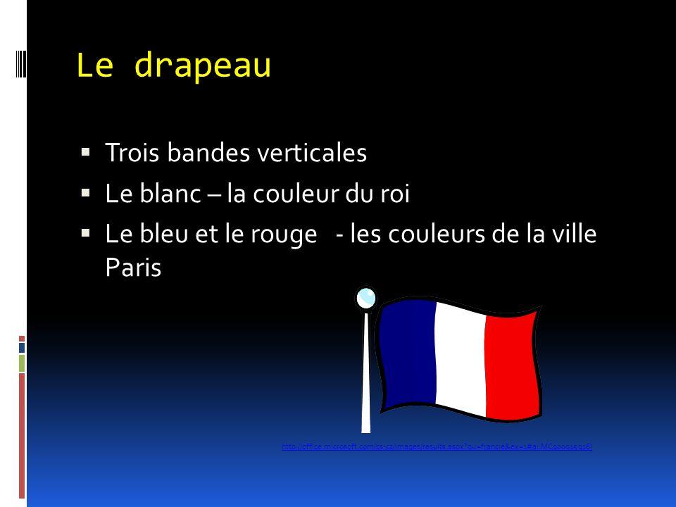 Le drapeau  Trois bandes verticales  Le blanc – la couleur du roi  Le bleu et le rouge - les couleurs de la ville Paris http://office.microsoft.com