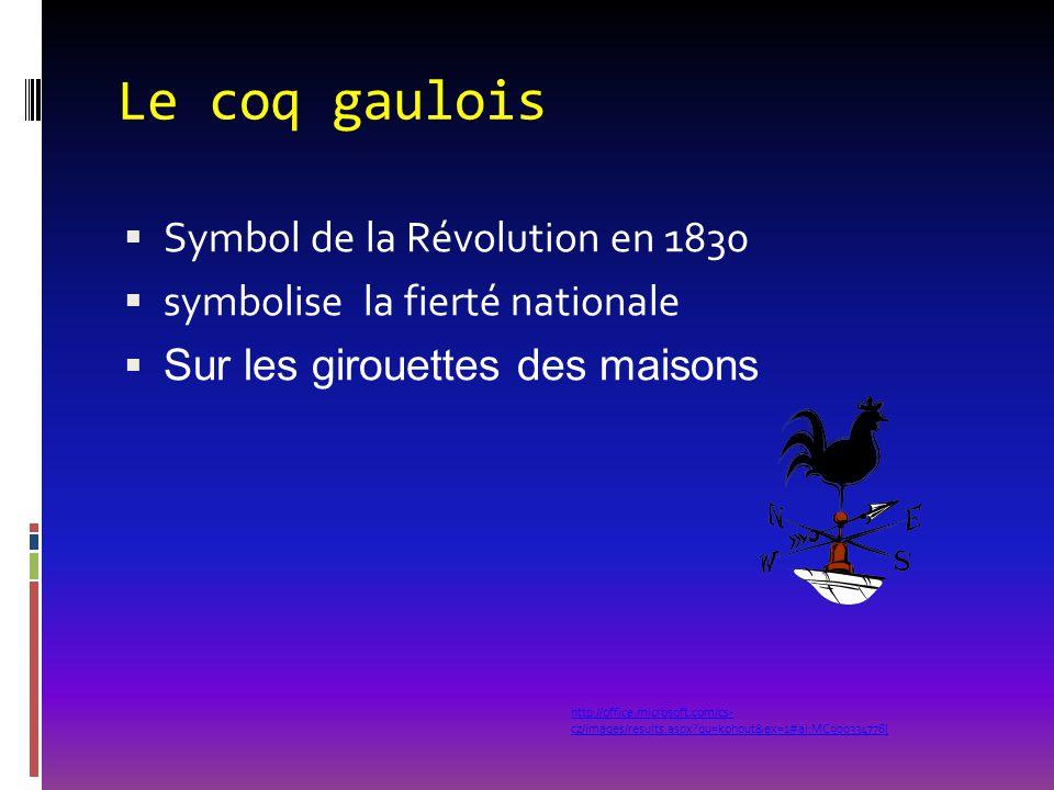 Le coq gaulois  Symbol de la Révolution en 1830  symbolise la fierté nationale  Sur les girouettes des maisons http://office.microsoft.com/cs- cz/i