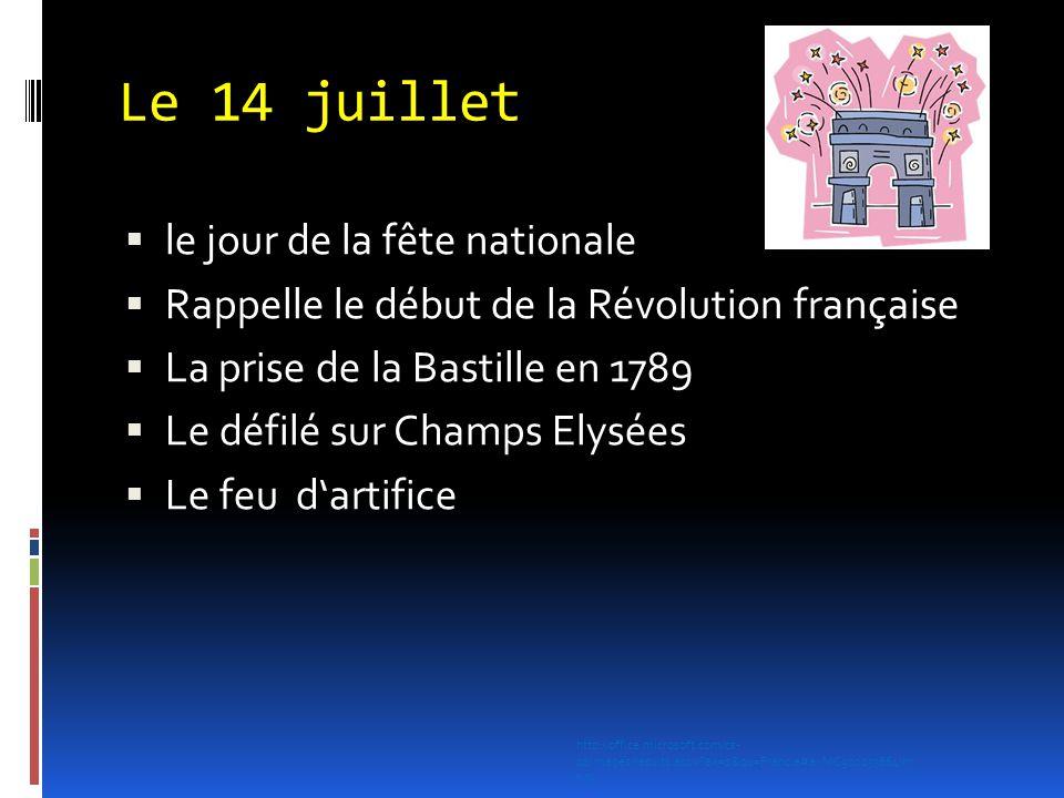 Le 14 juillet  le jour de la fête nationale  Rappelle le début de la Révolution française  La prise de la Bastille en 1789  Le défilé sur Champs E