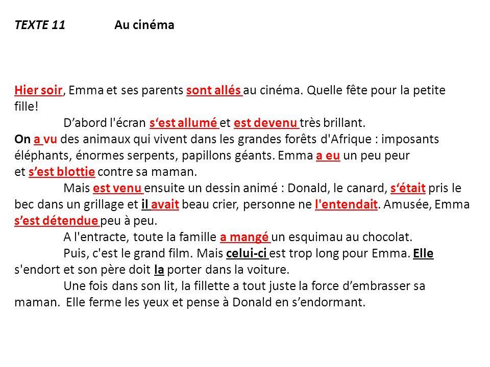 TEXTE 11 Au cinéma Hier soir, Emma et ses parents sont allés au cinéma. Quelle fête pour la petite fille! D'abord l'écran s'est allumé et est devenu t