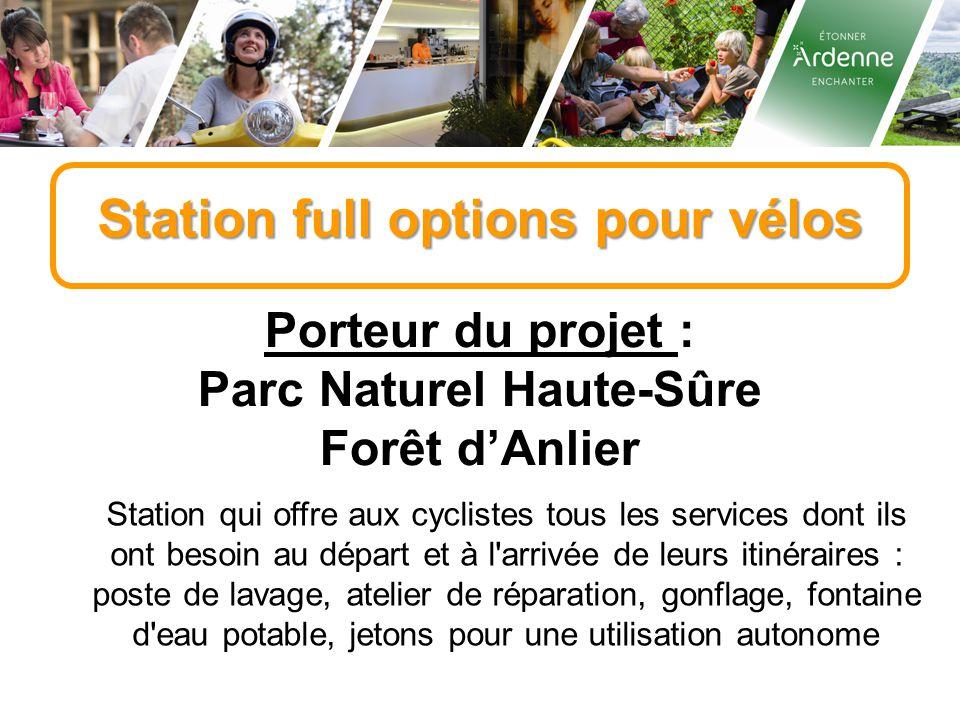 Station full options pour vélos Porteur du projet : Parc Naturel Haute-Sûre Forêt d'Anlier Station qui offre aux cyclistes tous les services dont ils
