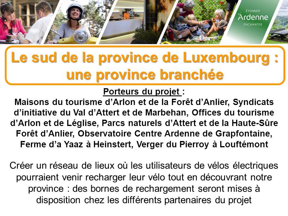 Le sud de la province de Luxembourg : une province branchée Porteurs du projet : Maisons du tourisme d'Arlon et de la Forêt d'Anlier, Syndicats d'initiative du Val d'Attert et de Marbehan, Offices du tourisme d'Arlon et de Léglise, Parcs naturels d'Attert et de la Haute-Sûre Forêt d'Anlier, Observatoire Centre Ardenne de Grapfontaine, Ferme d'a Yaaz à Heinstert, Verger du Pierroy à Louftémont Créer un réseau de lieux où les utilisateurs de vélos électriques pourraient venir recharger leur vélo tout en découvrant notre province : des bornes de rechargement seront mises à disposition chez les différents partenaires du projet