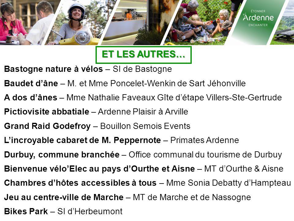 ET LES AUTRES… Bastogne nature à vélos – SI de Bastogne Baudet d'âne – M. et Mme Poncelet-Wenkin de Sart Jéhonville A dos d'ânes – Mme Nathalie Faveau