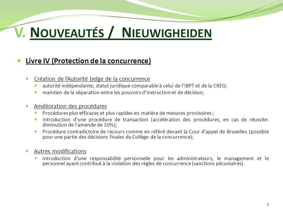 V. N OUVEAUTÉS / N IEUWIGHEIDEN Livre IV (Protection de la concurrence) Création de l'Autorité belge de la concurrence autorité indépendante; statut j