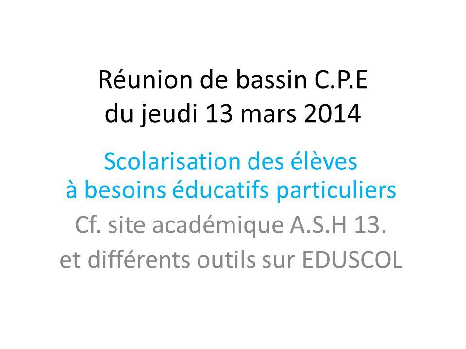 Réunion de bassin C.P.E du jeudi 13 mars 2014 Scolarisation des élèves à besoins éducatifs particuliers Cf. site académique A.S.H 13. et différents ou