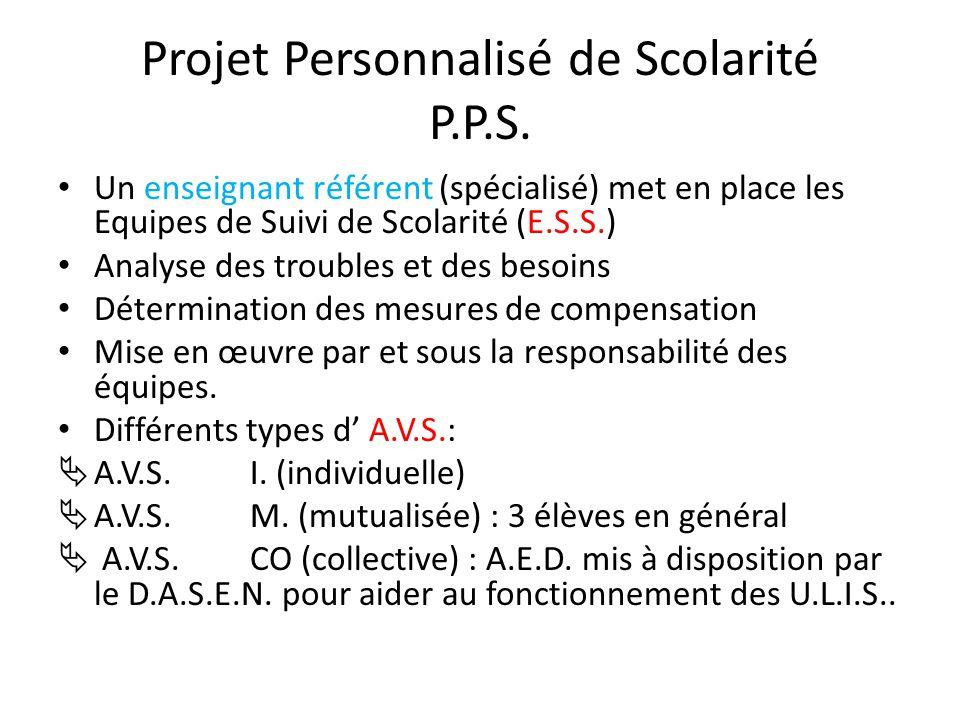 Projet Personnalisé de Scolarité P.P.S. Un enseignant référent (spécialisé) met en place les Equipes de Suivi de Scolarité (E.S.S.) Analyse des troubl