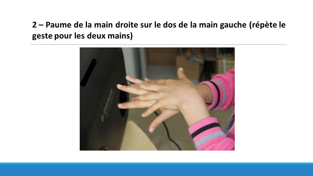 2 – Paume de la main droite sur le dos de la main gauche (répète le geste pour les deux mains)