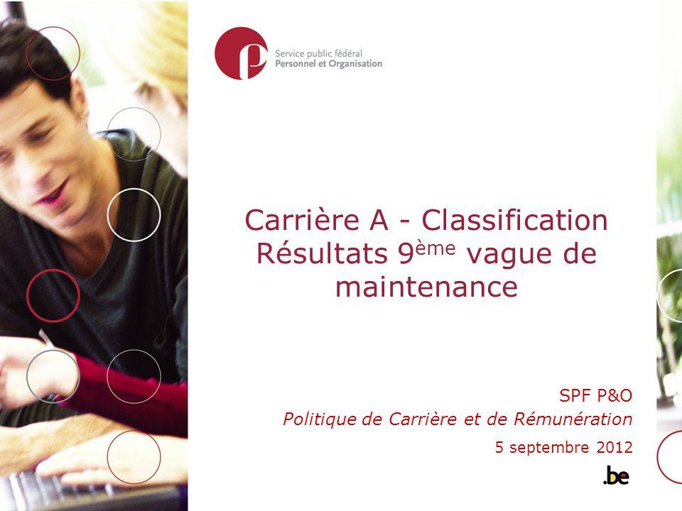 Carrière A - Classification Résultats 9 ème vague de maintenance SPF P&O Politique de Carrière et de Rémunération 5 septembre 2012