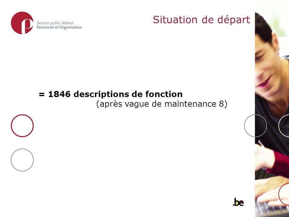 Situation de départ = 1846 descriptions de fonction (après vague de maintenance 8)