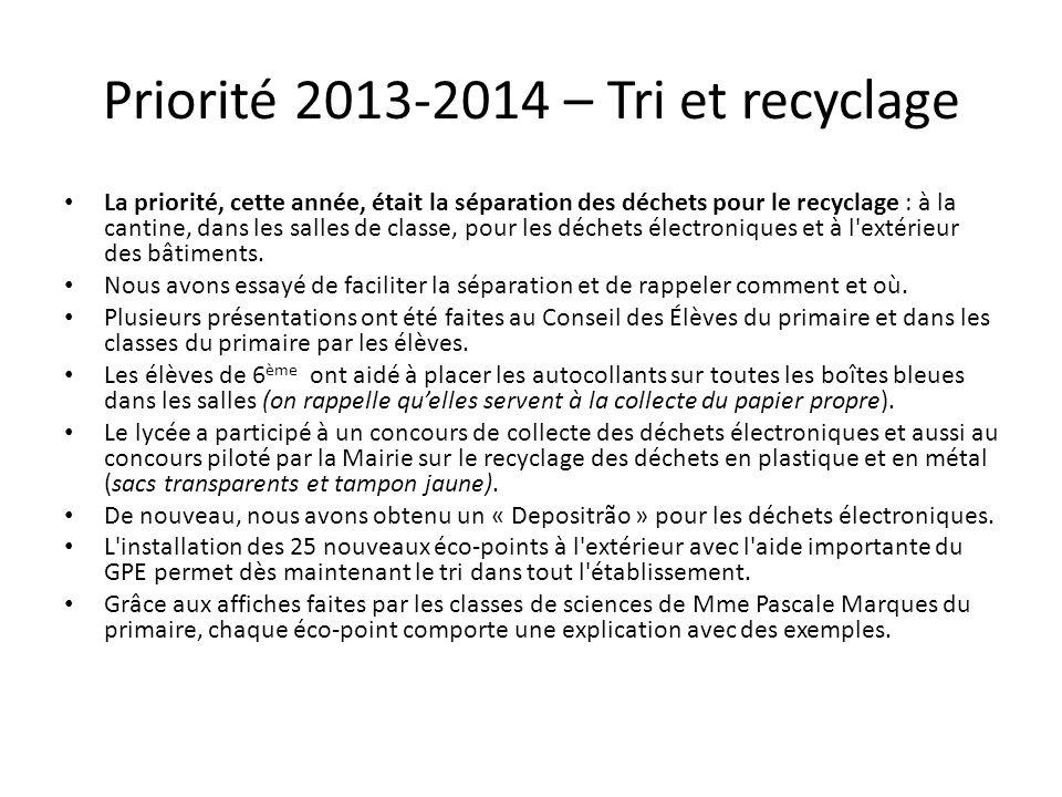 Priorité 2013-2014 – Tri et recyclage La priorité, cette année, était la séparation des déchets pour le recyclage : à la cantine, dans les salles de classe, pour les déchets électroniques et à l extérieur des bâtiments.