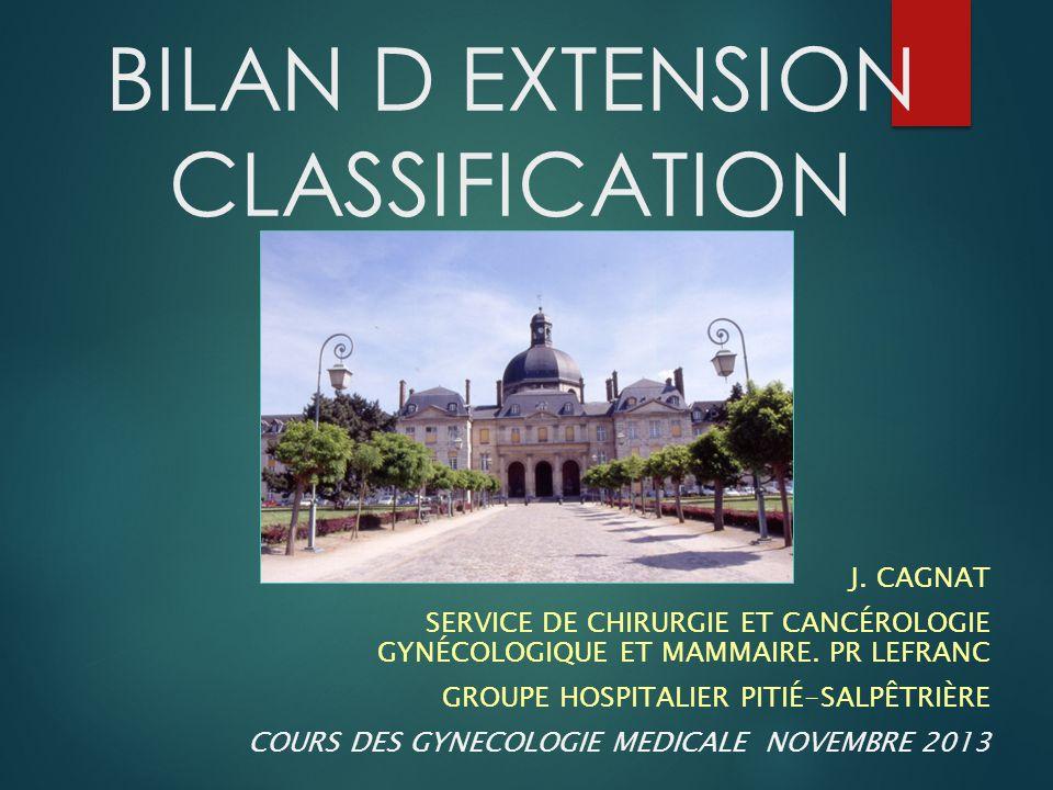 Bilan d'extension Classification  Ne concerne que les cancers infiltrants  preuve histologique indispensable  Lésions in situ :  Pas de bilan d'extension  Classification : TisN0M0