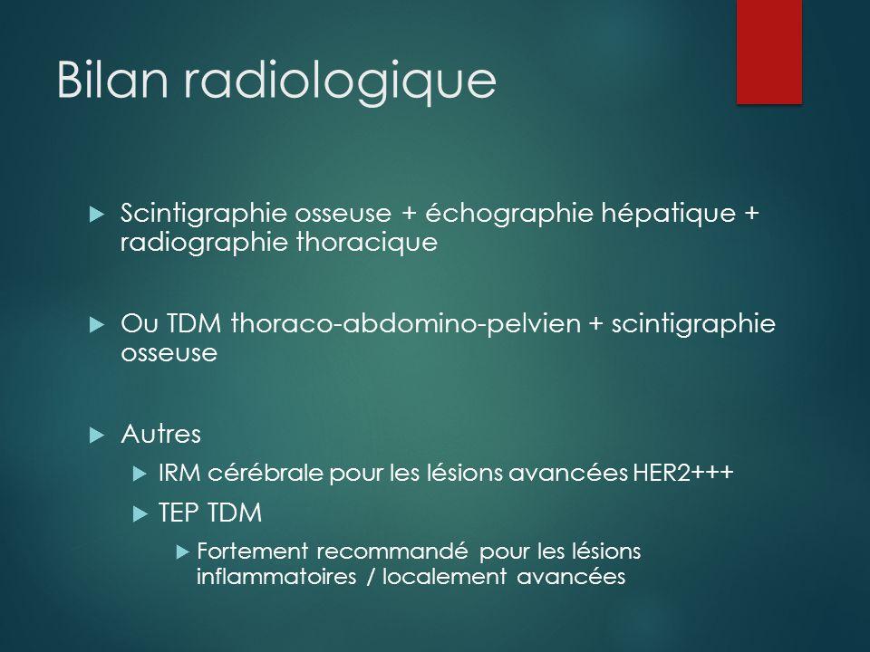 Bilan radiologique  Scintigraphie osseuse + échographie hépatique + radiographie thoracique  Ou TDM thoraco-abdomino-pelvien + scintigraphie osseuse