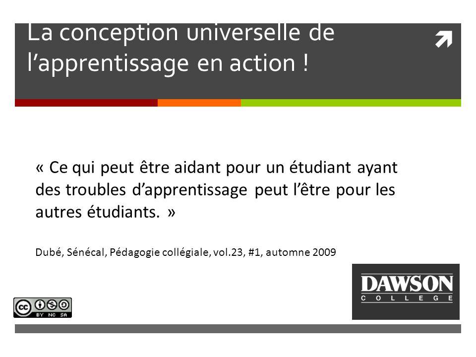 La conception universelle de l'apprentissage en action .