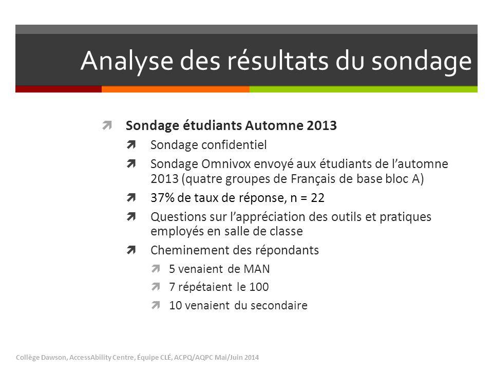 Analyse des résultats du sondage  Sondage étudiants Automne 2013  Sondage confidentiel  Sondage Omnivox envoyé aux étudiants de l'automne 2013 (qua