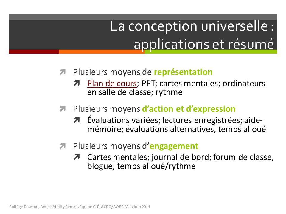 La conception universelle : applications et résumé  Plusieurs moyens de représentation  Plan de cours; PPT; cartes mentales; ordinateurs en salle de