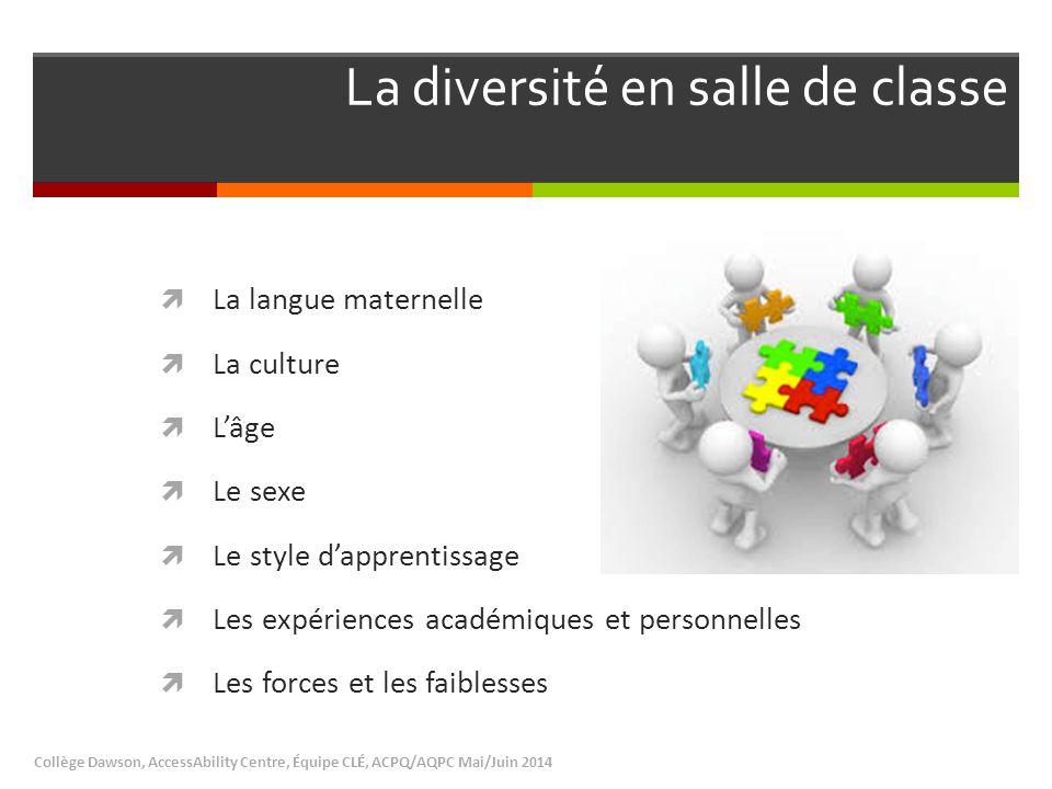 La diversité en salle de classe Collège Dawson, AccessAbility Centre, Équipe CLÉ, ACPQ/AQPC Mai/Juin 2014  La langue maternelle  La culture  L'âge