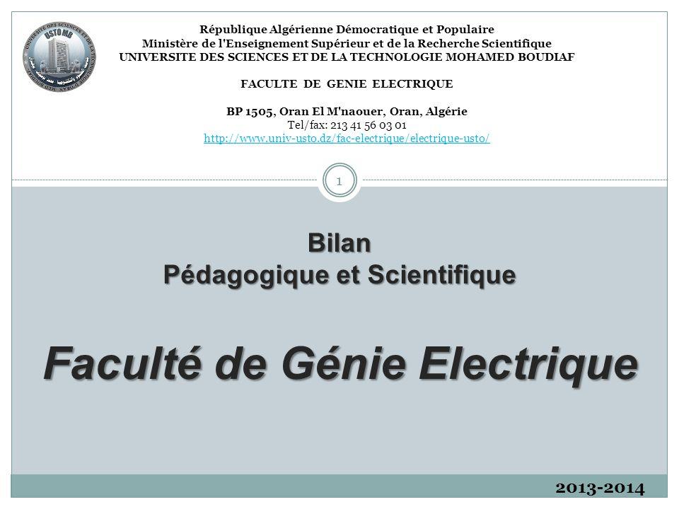 République Algérienne Démocratique et Populaire Ministère de l'Enseignement Supérieur et de la Recherche Scientifique UNIVERSITE DES SCIENCES ET DE LA