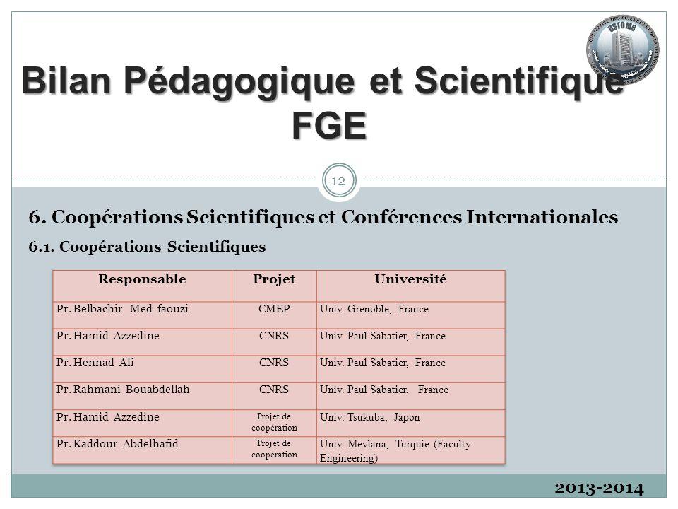 2013-2014 6.1. Coopérations Scientifiques 12 6. Coopérations Scientifiques et Conférences Internationales Bilan Pédagogique et Scientifique FGE