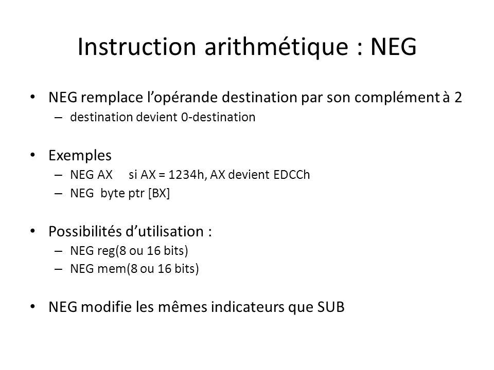 Instruction arithmétique : NEG NEG remplace l'opérande destination par son complément à 2 – destination devient 0-destination Exemples – NEG AXsi AX =