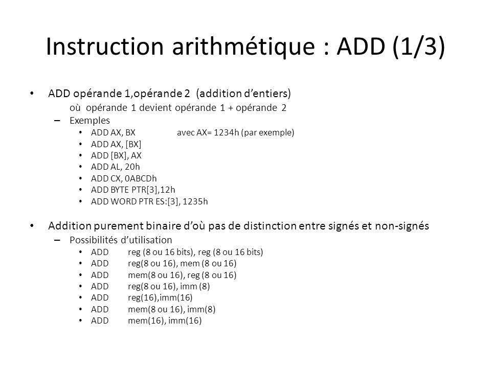 Instruction arithmétique : ADD (1/3) ADD opérande 1,opérande 2 (addition d'entiers) où opérande 1 devient opérande 1 + opérande 2 – Exemples ADD AX, B
