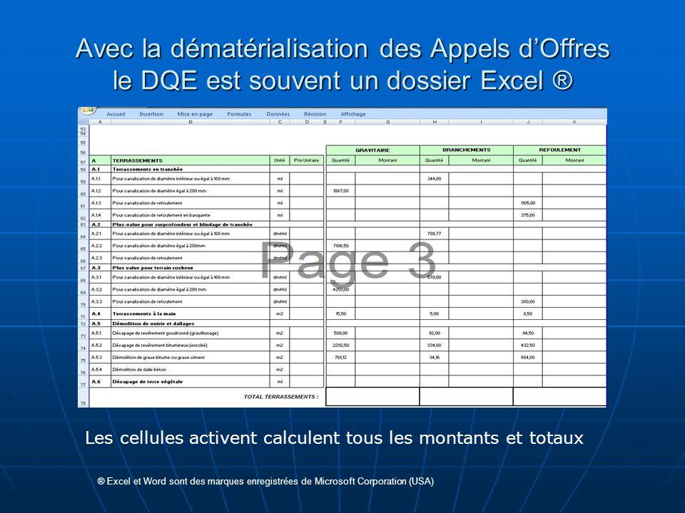 Avec la dématérialisation des Appels d'Offres le DQE est souvent un dossier Excel ® ® Excel et Word sont des marques enregistrées de Microsoft Corpora