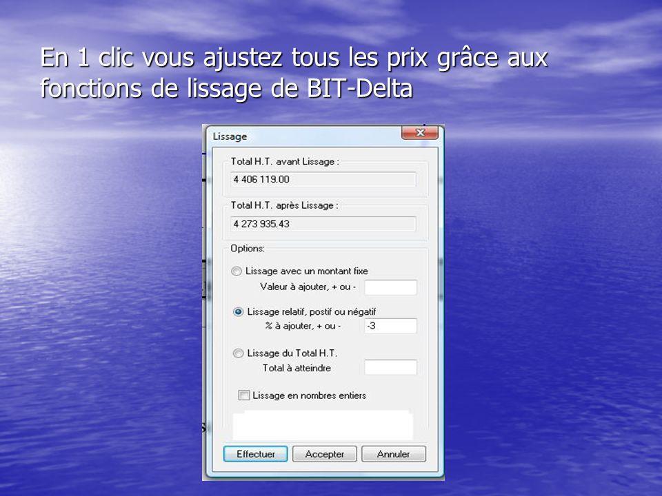 En 1 clic vous ajustez tous les prix grâce aux fonctions de lissage de BIT-Delta