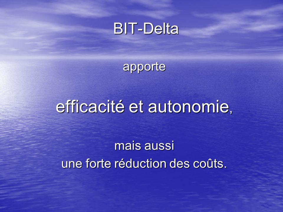 BIT-Delta BIT-Deltaapporte efficacité et autonomie, mais aussi une forte réduction des coûts.