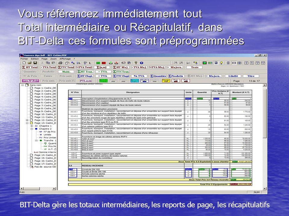 Vous référencez immédiatement tout Total intermédiaire ou Récapitulatif, dans BIT-Delta ces formules sont préprogrammées BIT-Delta gère les totaux intermédiaires, les reports de page, les récapitulatifs