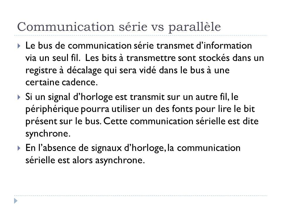 Communication série vs parallèle  Le bus de communication série transmet d'information via un seul fil.