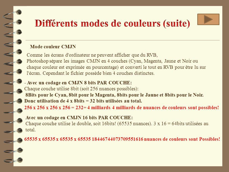 Mode couleur CMJN Comme les écrans d'ordinateur ne peuvent afficher que du RVB, Photoshop sépare les images CMJN en 4 couches (Cyan, Magenta, Jaune et