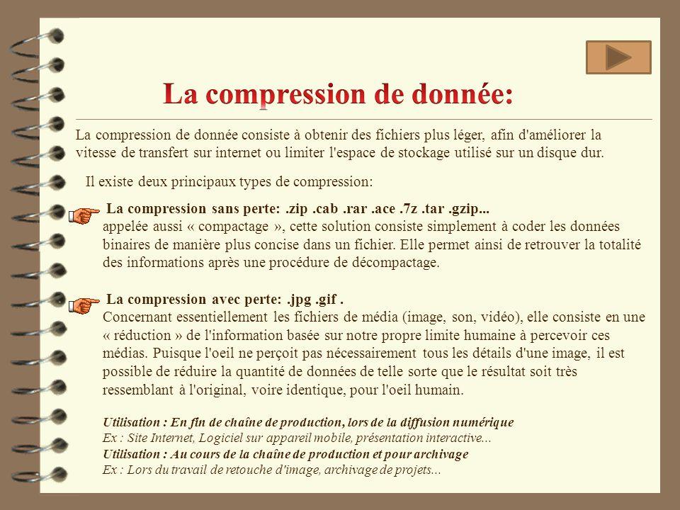 La compression de donnée consiste à obtenir des fichiers plus léger, afin d'améliorer la vitesse de transfert sur internet ou limiter l'espace de stoc