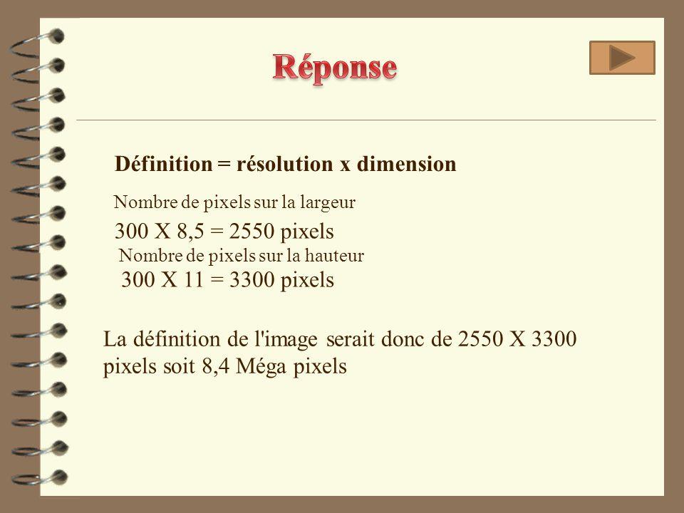 300 X 8,5 = 2550 pixels 300 X 11 = 3300 pixels La définition de l'image serait donc de 2550 X 3300 pixels soit 8,4 Méga pixels Nombre de pixels sur la