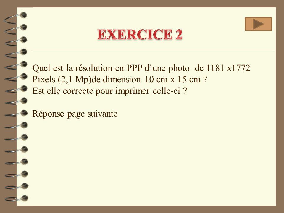 Quel est la résolution en PPP d'une photo de 1181 x1772 Pixels (2,1 Mp)de dimension 10 cm x 15 cm ? Est elle correcte pour imprimer celle-ci ? Réponse