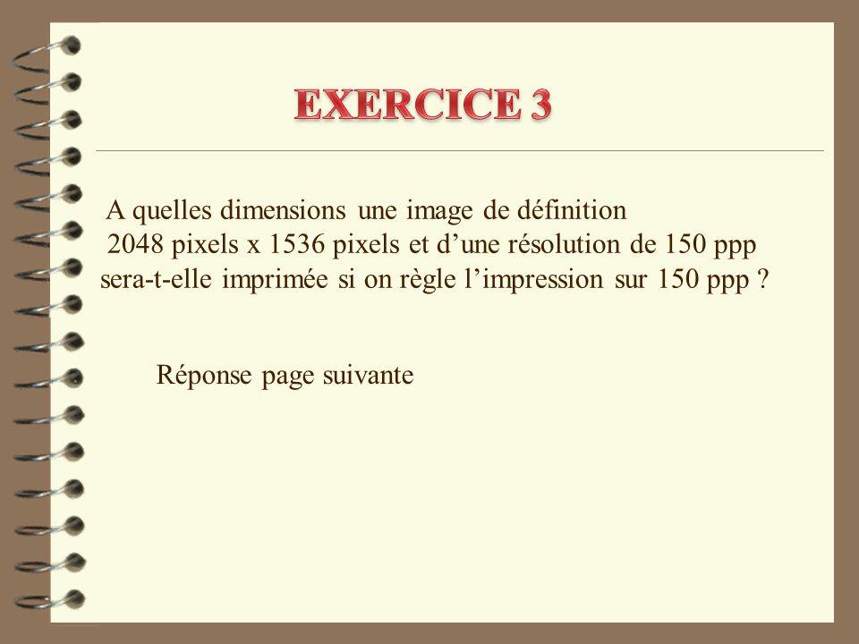 A quelles dimensions une image de définition 2048 pixels x 1536 pixels et d'une résolution de 150 ppp sera-t-elle imprimée si on règle l'impression su