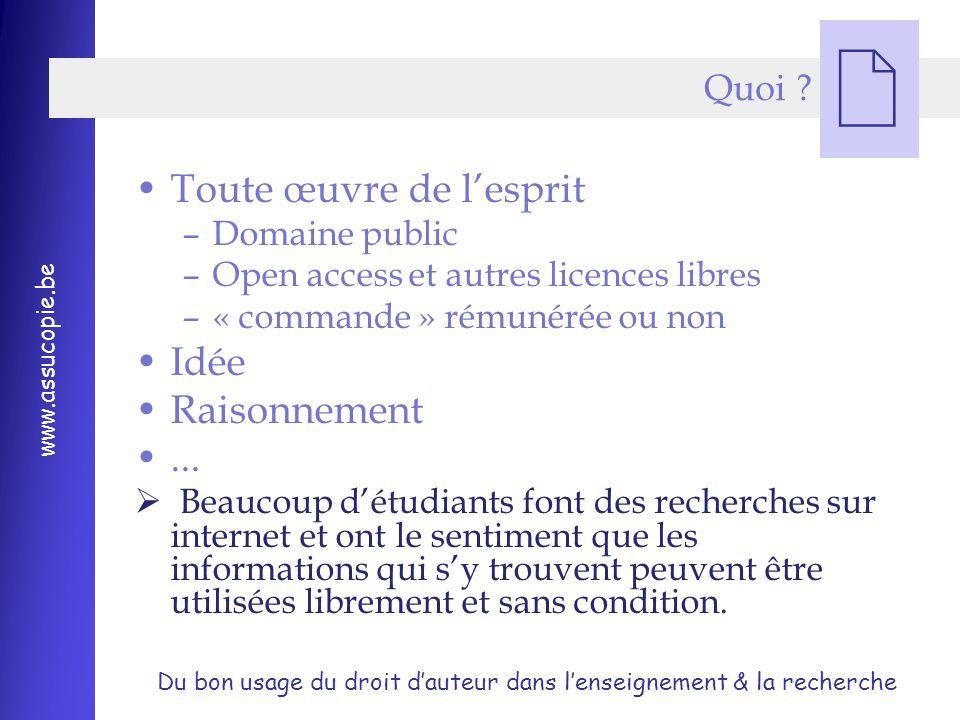 Du bon usage du droit d'auteur dans l'enseignement & la recherche www.assucopie.be  Quoi .