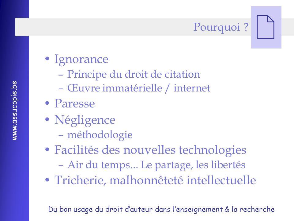 Du bon usage du droit d'auteur dans l'enseignement & la recherche www.assucopie.be  Pourquoi .