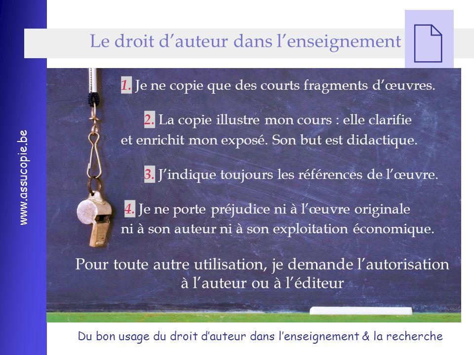 Du bon usage du droit d'auteur dans l'enseignement & la recherche www.assucopie.be  1.