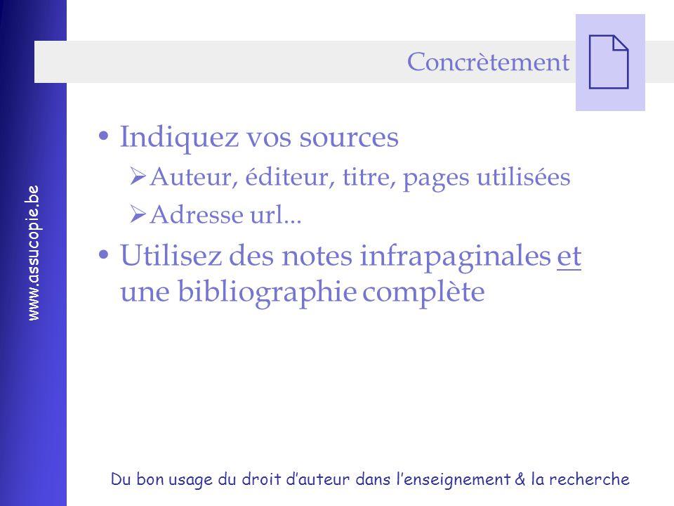 Du bon usage du droit d'auteur dans l'enseignement & la recherche www.assucopie.be  Concrètement Indiquez vos sources  Auteur, éditeur, titre, pages utilisées  Adresse url...