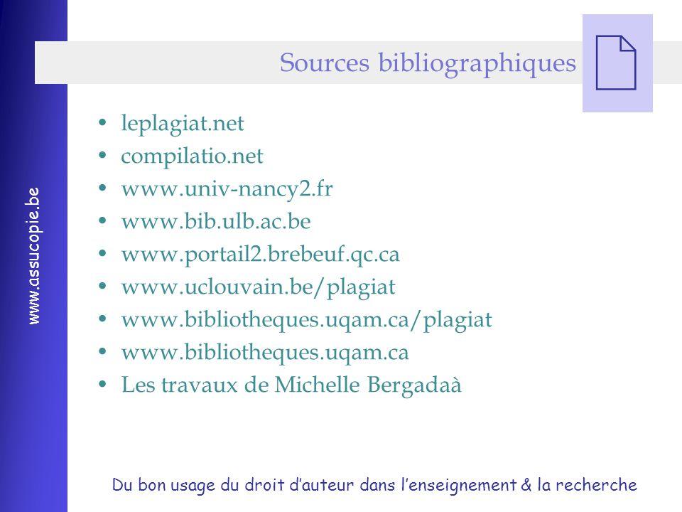 Du bon usage du droit d'auteur dans l'enseignement & la recherche www.assucopie.be  leplagiat.net compilatio.net www.univ-nancy2.fr www.bib.ulb.ac.be www.portail2.brebeuf.qc.ca www.uclouvain.be/plagiat www.bibliotheques.uqam.ca/plagiat www.bibliotheques.uqam.ca Les travaux de Michelle Bergadaà Sources bibliographiques