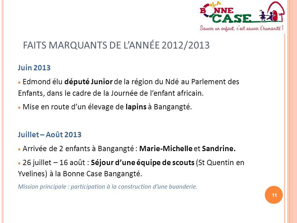 11 FAITS MARQUANTS DE L'ANNÉE 2012/2013 Juin 2013  Edmond élu député Junior de la région du Ndé au Parlement des Enfants, dans le cadre de la Journée