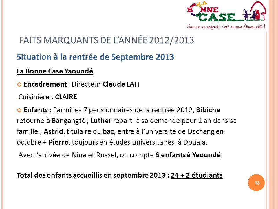 13 FAITS MARQUANTS DE L'ANNÉE 2012/2013 Situation à la rentrée de Septembre 2013 La Bonne Case Yaoundé Encadrement : Directeur Claude LAH - Cuisinière